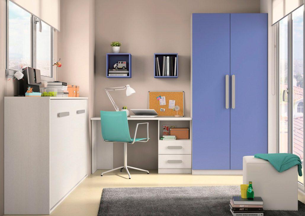 Dormitorio Juvenil economico, cama abatible