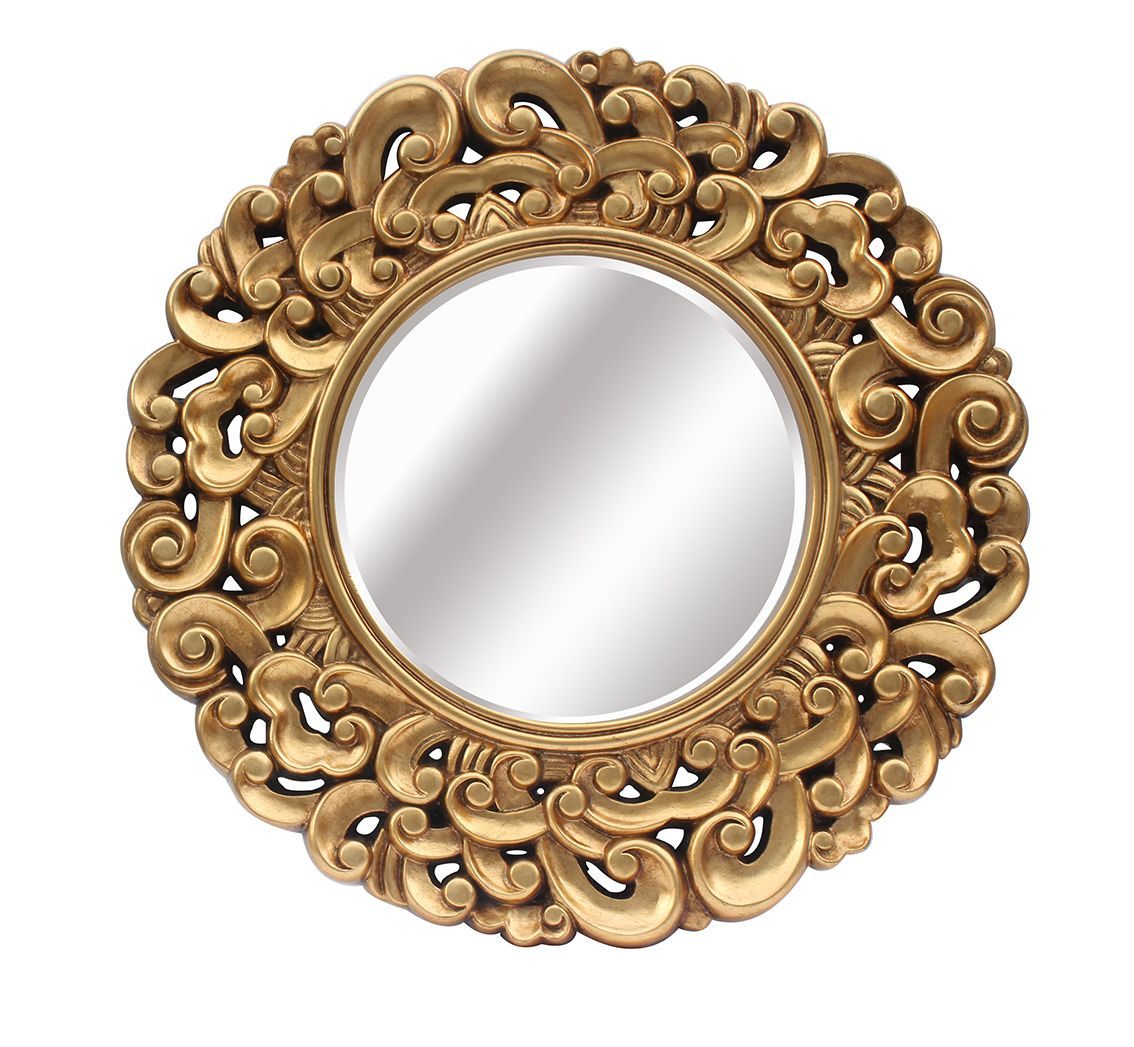 Espejo redondo dorado lleno de molduras y con un bonito marco for Espejo redondo con marco