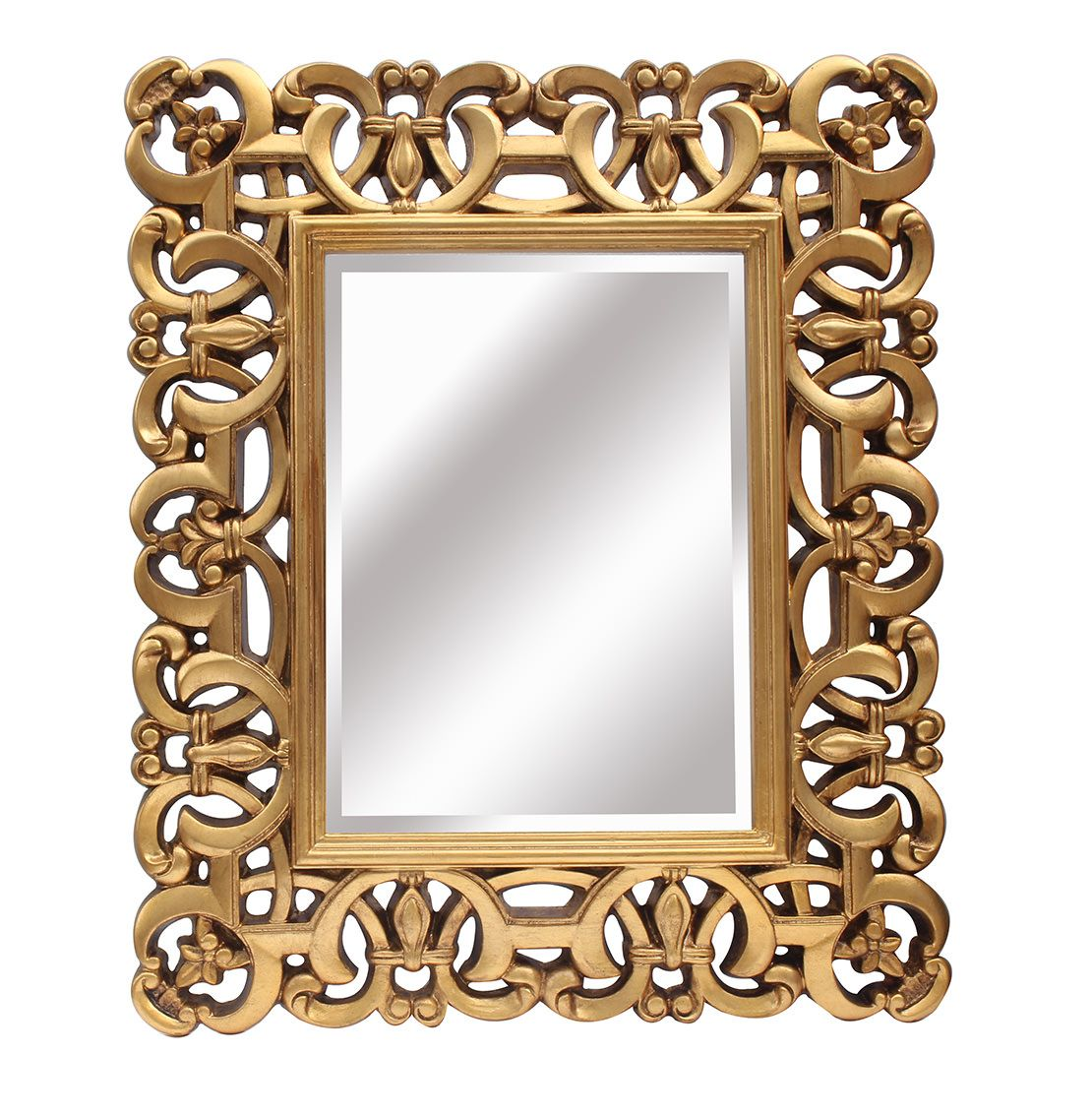 Espejo de resina cuadrado dorado lleno de molduras y con un bonito marco - Espejos de resina ...
