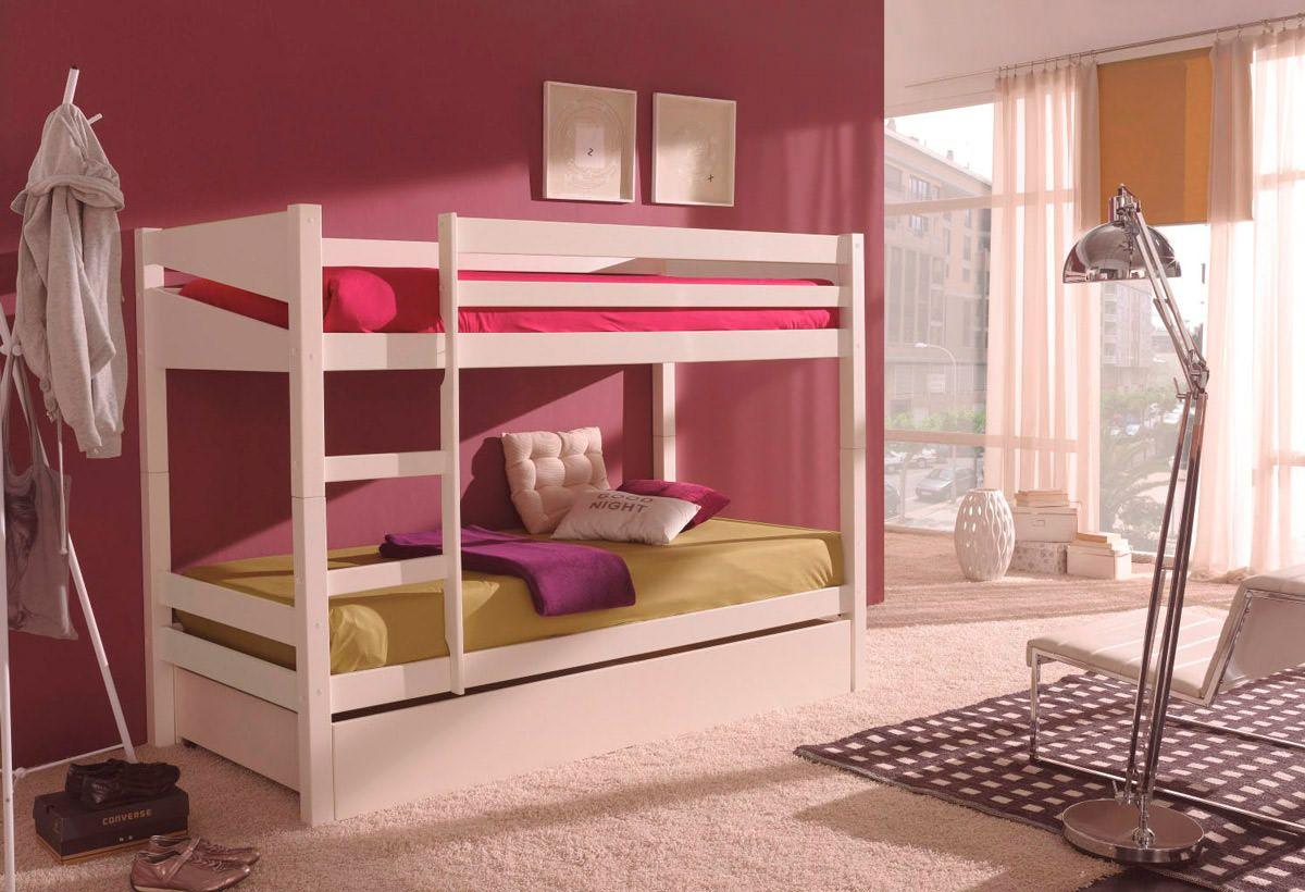 Litera habitaci n juvenil de madera maciza con tres camas for Habitacion juvenil 2 camas